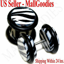 1243 Fake Cheater Illusion Faux Ear Plugs 16G White Zebra Stripes Print 00G 10mm