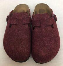 BIRKENSTOCK Boston Maroon Felt Wool Mules Clogs Size 39 UK