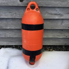 Weathered MAINE Lobster Trap BUOY Nautical LARGE ORANGE Pot BUMPER Boat Float