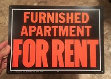 Vintage Furnished Apartment For Rent Metal Sign Bright Orange / Black Hy-Ko USA