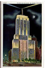 1920 Postcard Palmolive Building Illuminated Beacon Chicago Illinois Unposted