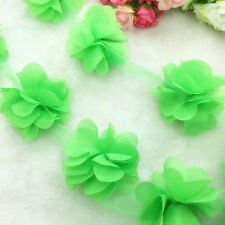 1 Yard  Fluorescent green Flower Chiffon Wedding Dress Bridal Fabric Lace Trim