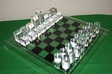 Mid Century Lucite chess set, acrylic, vintage with original board