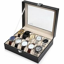 Readaeer Black Leather 10 Watch Box Case Organizer Display Storage Tray for M...