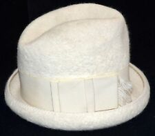 Vintage Corona Creamy White Wool Hat w/ Grosgrain Ribbon Bow Hat Band Sz S Italy