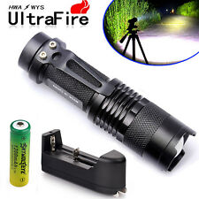 Cree XM-L 8000LM Mini LED Flashlight Focus Torch Light+14500 Battery+Charger TL