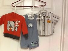 Infant boys shirt hoodie one piece  size 3 6 months lot orange blue clothing  Y1
