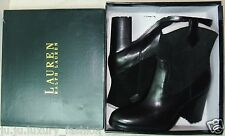 RALPH LAUREN Womens Devyn Black Suede / Leather Pull Up Western Ankle Boots New