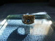 Ladies 10K Gold Clyde Duneier Blue Sapphire Diamond Ring Size 8