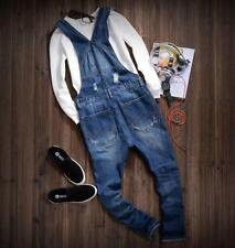 Mens Retro Slim Fit Jeans Overalls Denim New Ripped Hole Suspender Trousers Pant
