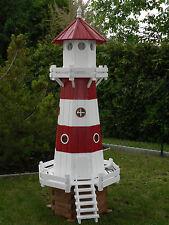 Leuchtturm 2,20m Höhe aus Kiefernholz rot/weiß mit elektr. Beleuchtung Neu