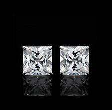 Princess Cut Earrings Real 14K Gold Square 5mm Basket Studs 1.5CT Colorless VVS1