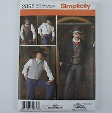 Simplicity 2895 Western Frock Coat Vest Shirt Pattern Men 46-52 Steampunk Jacket