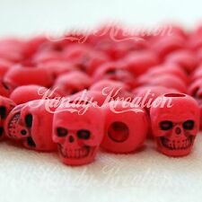 100 Red Skull Pony Beads for crafts paracord survival jewelry making Kandi Rave