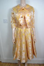 VINTAGE anni 1950 giallo cotone seta ENGLISH Made WOMEN'S DRESS & Giacca Taglia UK 8