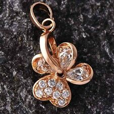 womens 14k rose Gold Plated cute flower Heart Crystal stone pendant for necklace