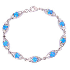 "Blue Fire Opal Zircon Women Jewelry Gemstone Silver Bracelet 7 7/8"" OS366"