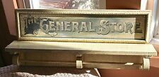 "24"" Primitive Rustic ""The General Store"" Crackle Finish Shelf & Towel Rack"