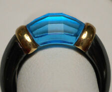 Unusual Modernist Ring - Hematite Band w/ 14K Yellow Gold & Blue Topaz Size 7