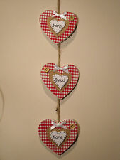 Shabby Chic Country Farmhouse Home Sweet Home Wooden Decorative Hanging Hearts