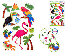 TROPICAL BIRDS glitter 3D puffy wall stickers 12 decal parrot flamingo palm tree