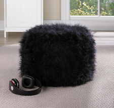 Fuzzy Black Ottoman Pouf has Soft Texture Comfortable Cute Chic Classic Room NEW