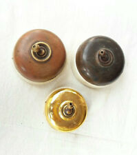Old Vintage Rare Vitreous 3 Pc Brass & Ceramic Electric Switches, British Made