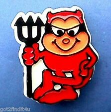 BUY1&GET1@50%~Hallmark PIN Halloween DEVIL RED w Black Mask PITCHFORK Vtg Brooch