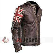 UK Flag Men's Biker Vintage Style Motorcycle Cafe Racer Leather Jacket