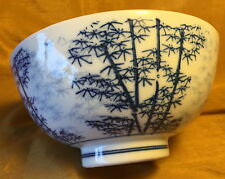"Vtg Footed 6.25"" Chinese Porcelain Bowl w Cobalt Blue Painted Bamboo Trees"