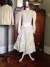 COTTON Antique Lace Edwardian 2p Party Dress ANN PAKRADOONI HIPPIE WEDDING 38