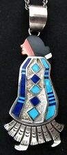 Vintage Navajo Silver and Turquoise Pendant STORYTELLER Native American *TB381