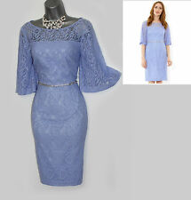 MONSOON Purple Lace LILLY Embellished Party Cocktail Wedding Dress UK 12 40 £119