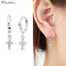 Womens 925 Sterling Silver Cross Paved CZ Zircon Drop Dangle Hoop Earrings