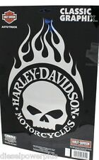 harley davidson motorcycle decal sticker BIG shield chrome flame willie g SKULL
