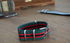 Premium quality 20mm G10 NATO Watch Strap - Green, Red and Black Stripe