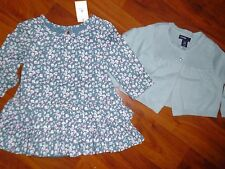 3 6 M BABY GAP Teal Green Flower Dress Cardigan Sweater Easter Kid Girl Gift NWT
