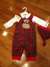 3-6 Months BOYS First Impressions Red Plaid Velvet Christmas 3 Pc Outfit NWT $44