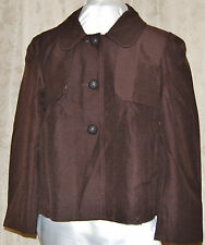 DIALOGUE SO  CHIC & PRETTY 3 BUTTON PRINT LINED TEXTURED JACKET W/FLAP DETAIL L