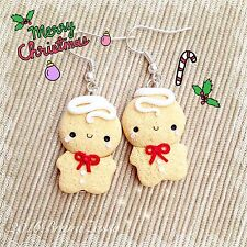 Orecchini Omino Marzapane Zenzero ~ Cute Gingerbread Earrings Fimo Christmas