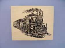 100 PROOF PRESS RUBBER STAMPS BIG TRAIN ON THE TRACKS NEW STAMP