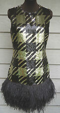 $6395 Michael Kors Sequin Feather Dress US 10 8 Gold Coffee Shift Sheath