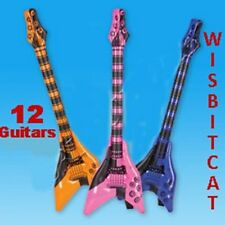 "12 Large 42"" inch V-Shape Rock And Roll Inflatable GUITARS Kids Party FAVORS"