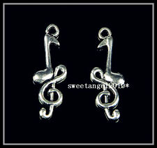"5X Tibetan Silver Charm Music Notation Symbols Pendant Jewelry Finding 1.26"" S1"