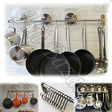 Wall Mount Holder Kitchen Hooks Pot Rack Pan Lid Stainless Steel Organizer Hang