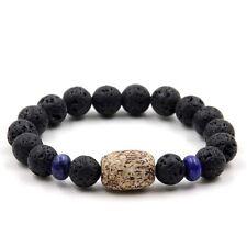 Agate Lapis Lazuli Volcano stone Tibet Buddhist Prayer Beads Mala Bracelet