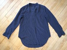 Madewell Blouse Shirt Longsleeve Silk size Small Dark Grey Button Up