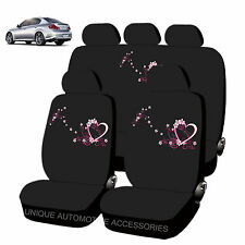 NEW SPRING LOVE DESIGN FRONT REAR LOW BACK SEAT COVERS 11PC SET FOR CARS 2883