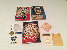 Vintage 1940's CUB SCOUT BOOKS & Memorabilia Lot Pins, Patches, Membership Card
