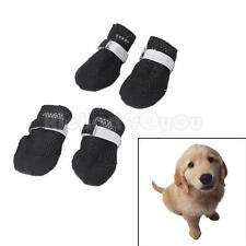 4Pcs Boots Pet Dog Puppy Summer Black Air Hole Walking Shoes Closure